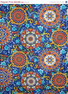 Timeless Treasures Sienna Medallion Royal Blue with Yellow Red