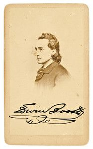 Signed Carte de Visite of Edwin Booth, brother of Lincoln assassin, J. Wilkes Booth. Ironically, Edwin had an incident in saving Robert Lincoln's life, when in 1863 Robert slipped off a train platform between the platform and car body. Lincoln, being helpless to save himself from being crushed, was seized by Booth by Lincoln's collar and pulled up to safety. Robert would tell this story many times the rest of his life. Ironic. *s*