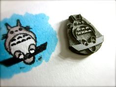 Totoro Inspired Rubber Stamp on Reclaimed Wood Mount