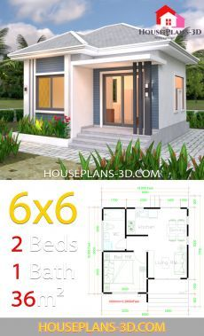 House Plans with One Bedrooms Flat Roof - House Plans 3d House Plans, Small House Floor Plans, Simple House Plans, Model House Plan, One Bedroom Flat, 2 Bedroom House Plans, 2 Bedroom House Design, Flat Roof House, House Construction Plan
