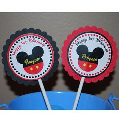 Mickey Mouse Head Cupcake Toppers  Set of 12 by sharenmoments, $10.00