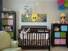 A Colorful Nursery with bright colors and tons of DIY baby room projects. | Color Transformed Family