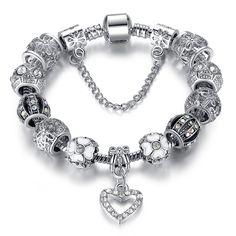 Cheap Moda 925 argento antico braccialetto di fascino del cuore per le donne di diy branelli di cristallo misura i braccialetti pulseira gioielli regalo originale PS3145, Compro Qualità Braccialetti di fascino direttamente da fornitori della Cina:                                                        Nome: european charm br