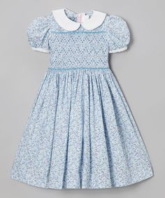 Take a look at this Blue Floral Smocked Puff-Sleeve Dress - Infant, Toddler & Girls by Emily Lacey on #zulily today!