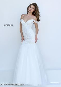 Sherri Hill - 50212. Vintage wedding gown. Beaded wedding gown with off the shoulder sleeves. Heavily beaded wedding gown. Informal wedding gown. Destination wedding dress. Heavily beaded wedding dress. Wedding reception gown. Second wedding dress. Sexy wedding dress.