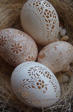 Hand Carved Victorian Lace Chicken Egg: Heart Pattern