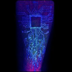 Uv Ink Glow In The Dark Male Circuit Board Tattoos On Arm