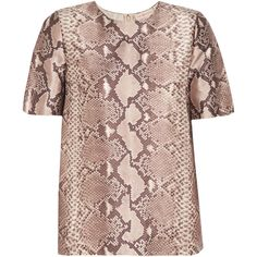 Tory Burch - Snake-print Silk And Wool-blend Top (€115) ❤ liked on Polyvore featuring snake print