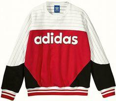 ADIDAS JAPAN NIGO COLOR BLOCKED CREW NECK SWEATSHIRT Red-White new limited #adidas #Sweatshirt #under150
