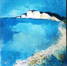 Huile sur toile 50x50 cm #falaise #bleu #huile #peinture Painting, Outdoor, Cliff, Oil On Canvas, Blue, Paint, Outdoors, Painting Art, Paintings
