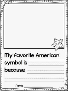 It is time to learn all about our American Symbols this week! American Symbols Mini Video We watched this free video on Brai. Kindergarten Social Studies, Social Studies Activities, Teaching Social Studies, Kindergarten Writing, Teaching Writing, Student Teaching, Writing Prompts, Teaching Ideas, Writing Workshop