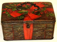 Figural Early German Christmas Biscuit Basket Tin 1910s....love...