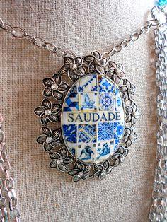 Portugal Antique Blue Azulejo Tile Replica  Necklace  by Atrio,