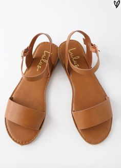 HEARTS AND HASHTAGS TAN FLAT SANDALS LULUS $19