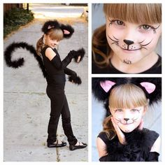 simple cat face painting ideas - feather boa for tail, hand bracelet and ears: