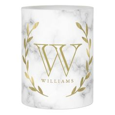 Faux Gold Foil Monogram on Marble Texture Flameless Candle