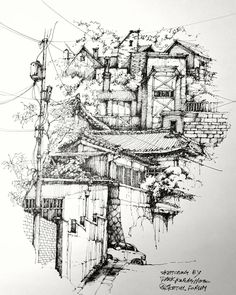 Architectural Sketches Interior Exterior Old and New - 描き方 - Architecture Drawing Sketchbooks, Watercolor Architecture, Sketchbook Drawings, Ink Pen Drawings, Drawing Sketches, Sketch Architecture, Landscape Sketch, Landscape Drawings, Images Esthétiques