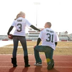Cute Football Season Engagement Pic