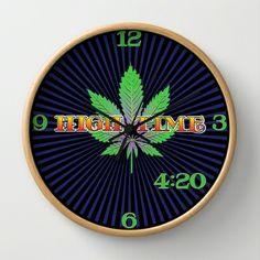 MaryJane Cannabis Indica Sativa, Smoke the best 420 Wall Clock by Kushcoast -
