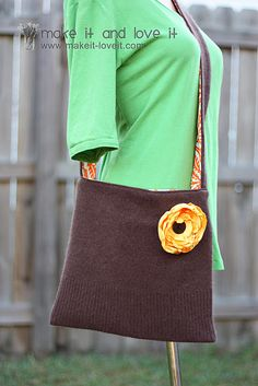 old sweater repurposed into a sling bag...super cute!