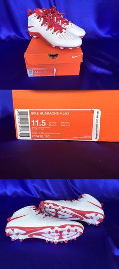 Footwear 159154: New Men Nike Huarache 4 Lax Lacrosse Football Cleat 616296-160 White Red Sz 11.5 -> BUY IT NOW ONLY: $49.99 on eBay!