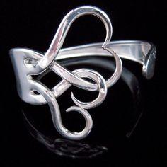 Silverware Jewelry - Fork Bracelet in Original Intertwining Hearts Design Fork Jewelry, Jewelry Box, Jewelery, Jewelry Accessories, Jewelry Design, Jewelry Making, Fork Bracelet, Bracelet Making, Heart Bracelet