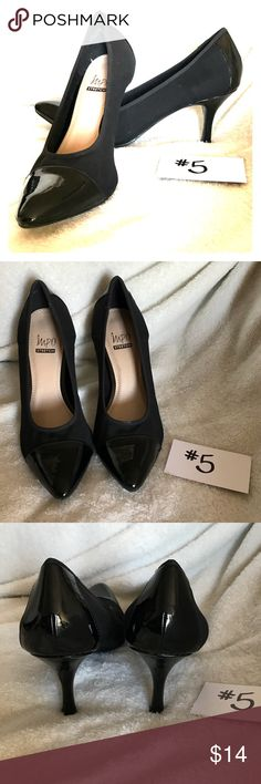 Impo Stretch Heels, 9, Pointed Toe, Matte Shiny Impo Stretch Heels, 9, Pointed Toe, Matte Shiny    These shoes are so comfortable! The Toe is a shiny black and the rest of the shoe is matte black. I've never seen shoes like these and I could literally wear them all day! Impo Stretch Shoes Heels