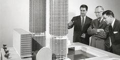 Bernard Goldberg presenting a model of Marina City