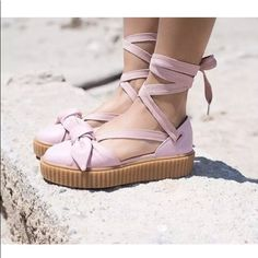 big sale 306d0 3129f Puma Shoes   Puma Fenty By Rihanna Creeper Bow Sneaker Sandals   Color  Pink