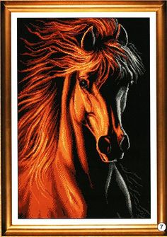 OneHippo Crystal Diamond Painting DIY Counted Paint By Number Kits Animal Horse Red Fire and Ice - deal for mom