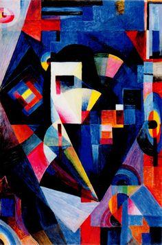 """Johannes Itten """"Komposition in Blau"""" 1918 Oil on Canvas 120 x 80,5 cm Knstmuseum Bern"""