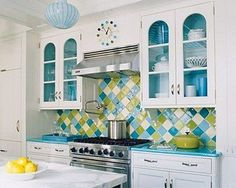 Beach house colors for the kitchen