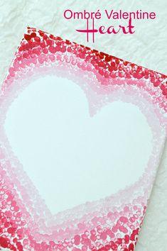 Ombré Valentine Heart Using Eraser Dot Art - Ombre valentine Heart on canvas using paint and an eraser. Valentines Day Party, Valentine Day Crafts, Be My Valentine, Holiday Crafts, Holiday Ideas, Heart Painting, Painting For Kids, Wine And Paint Night, Kids Canvas Art
