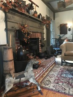 A great place to spend a chilly Fall evening Colonial Home Decor, Home, Fireplace Surrounds, Country Decor, Primitive Decorating Country, House Interior, Inside Decor, Primitive Living Room, Rustic House