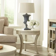 Huntleigh Round End Table in White | Riverside | Home Gallery Stores