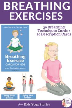 It does magic. With these adorable cards you can teach your kids breathing techniques. 30 different breathing exercises that are easy, fun and simple to teach. Poses Yoga Enfants, Kids Yoga Poses, Yoga Poses For Beginners, Yoga For Kids, Pranayama, Kinesthetic Learning, Card Workout, Hard Yoga, Deep Breathing Exercises