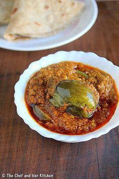 Bharli Vangi - Maharasthrian style Stuffed Eggplants