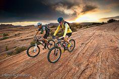 A couple mountain biking on a rock formation near Moab, Utah. Outdoor Fun, Outdoor Camping, Hiking Supplies, Bike Couple, Mens Toys, Pre Wedding Photoshoot, Get Outdoors, Mtb Bike, Classic Bikes
