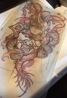 Amsterdam TATTOO1825 KIMIHITO    Samurai Mask Dragon  Back Piece tattoo design