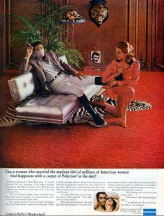 Ad - Magazine Clipping - Polycrest Olefin Fiber Carpeting by Uniroyal- 1966 Vintage Ads, Vintage Photos, 1960s Advertising, 1960s Home Decor, Ugly Dolls, Print Ads, American Women, Fiber, Carpet