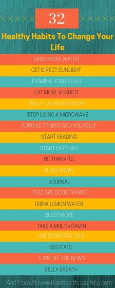 Creating healthy habits will reduce weight, inflammation and build a happier life. Here are 32 healthy habits to get you started.