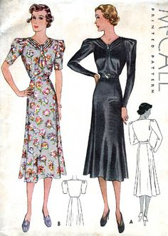 McCall 8345 | 1937 Ladies' & Misses' Dress in Two Styles