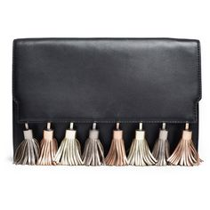 Rebecca Minkoff Handbags Metallic Tassel Sofia Clutch (£28) ❤ liked on Polyvore featuring bags, handbags, clutches, purses, metallic handbags, purse clutches, man bag, handbag purse and metallic clutches