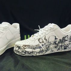 Private commission on a pair of Air Force I Fabien de Gezelle Dr Shoes, Me Too Shoes, Shoes Sneakers, Veja Sneakers, Sneakers Adidas, Custom Sneakers, Custom Shoes, Sweatshirts Nike, Nike Trainer