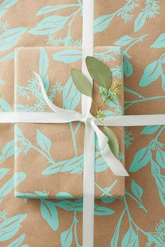 Bonnie Kaye Studio ~ Holiday Wrapping Paper Screen Printed by Hand #Anthropologie #Christmasgiftwrap #eucalyptus