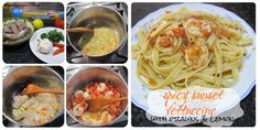 Spicy Sunset Fettuccine with Prawns and Lemon Prawn, Spicy, Spaghetti, Lemon, Sunset, Ethnic Recipes, Food, Sunsets, Meals