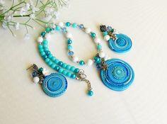 Blue set  Sharm set  Jewelry bracelet  by LukyanenkoLyubov on Etsy