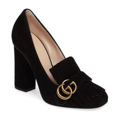 Women's Gucci Marmont Kiltie Loafer Pump (50,970 INR) ❤ liked on Polyvore featuring shoes, pumps, black suede, fringe shoes, suede shoes, loafer shoes, black loafer shoes and loafer pumps