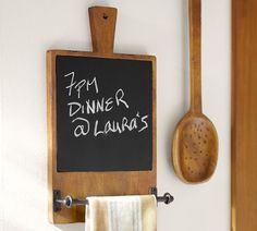 Chalkboard and towel bar - cute!!