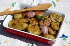 Pommes de terre primeur « tapées » ail et romarin